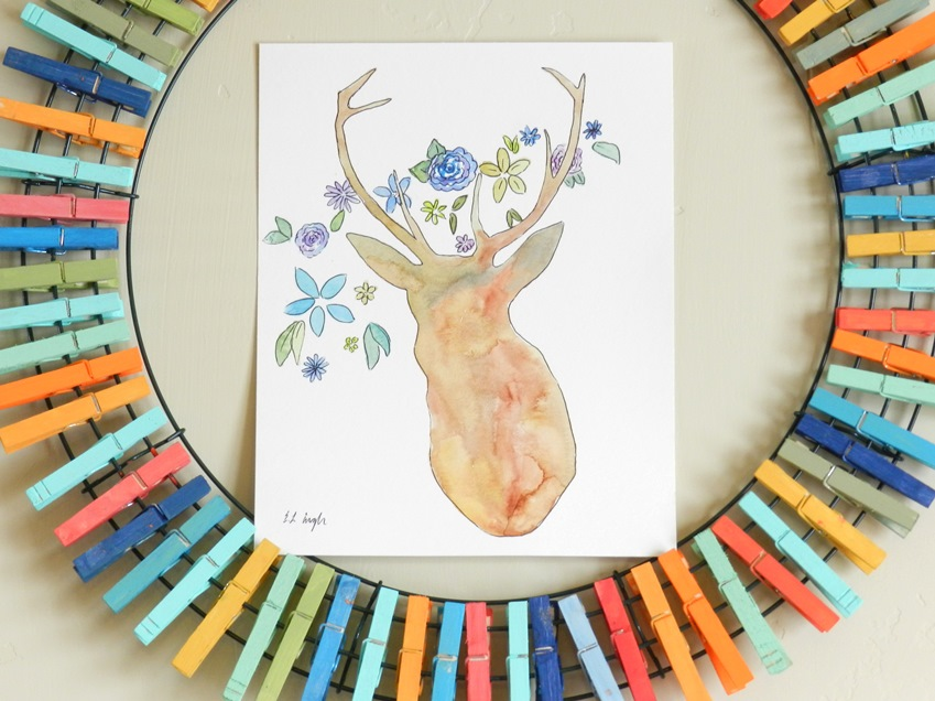 deer silhouette with flowers watercolor