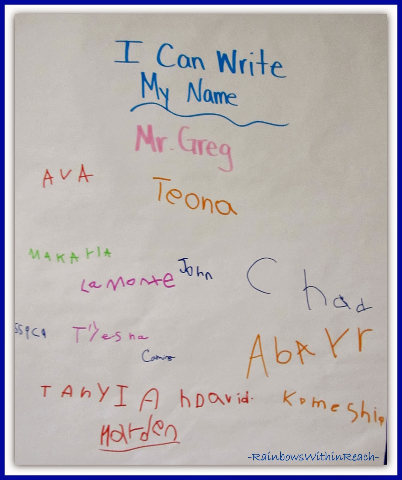 Anchor Chart with Name Signatures in Kindergarten