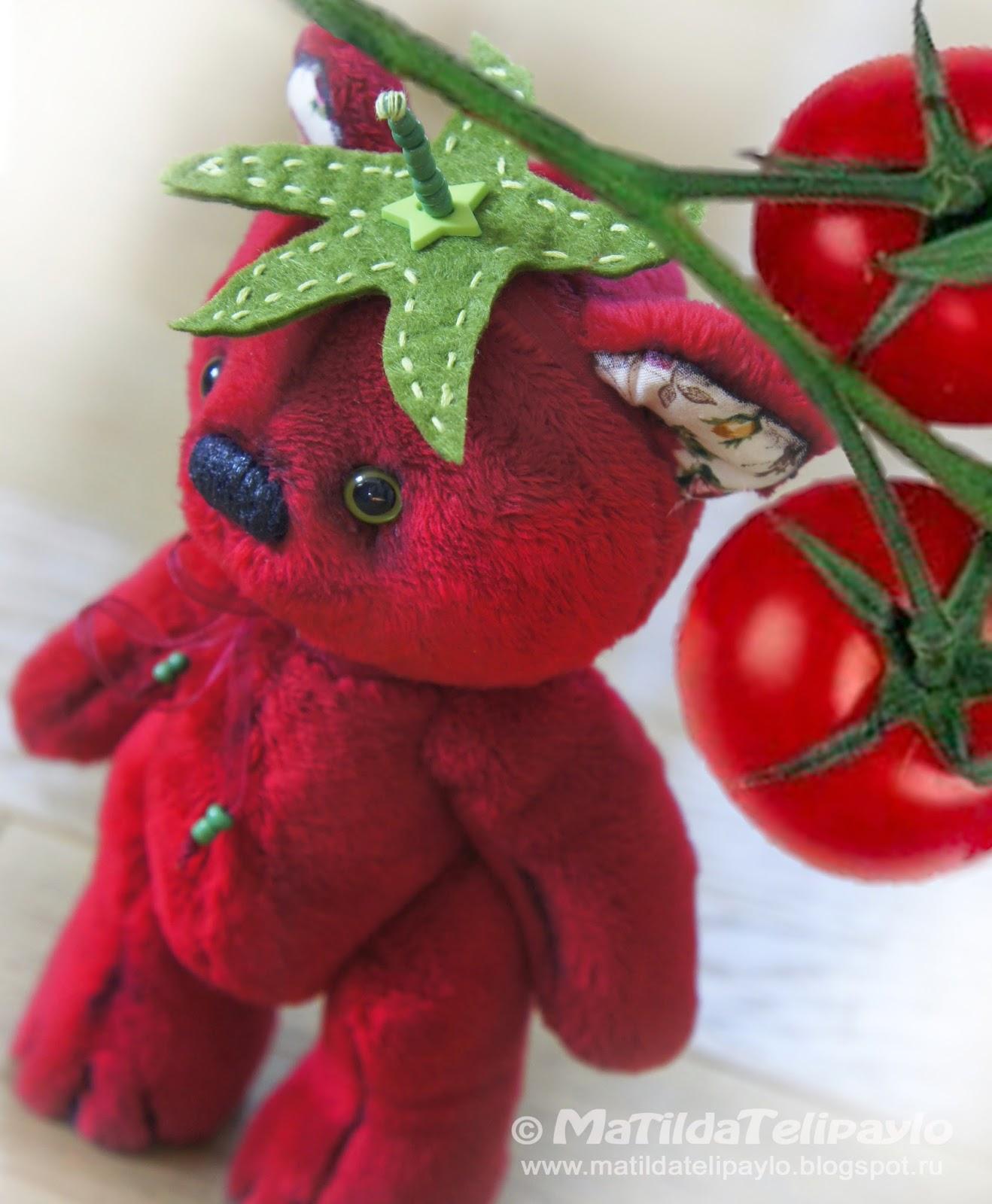 Мишка, помидор, ручная работа, hand-made