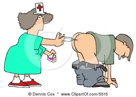 nurse giving shot in butt