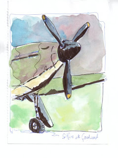 Spitfire at Goodwood ink and wash