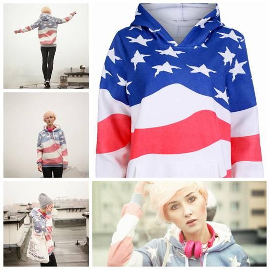 romwe american flag hoodie, street style