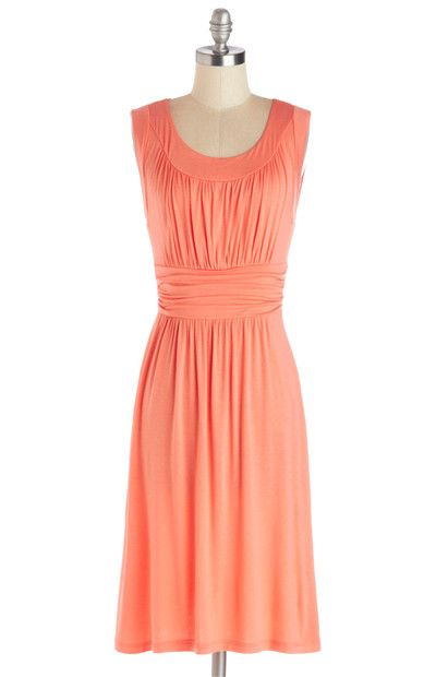 Sleeveless Casual Dress in Coral