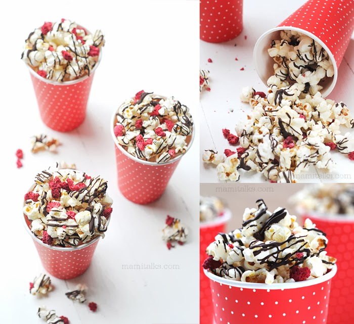 Dark Chocolate Drizzled Popcorn with Raspberry - MamiTalks.com