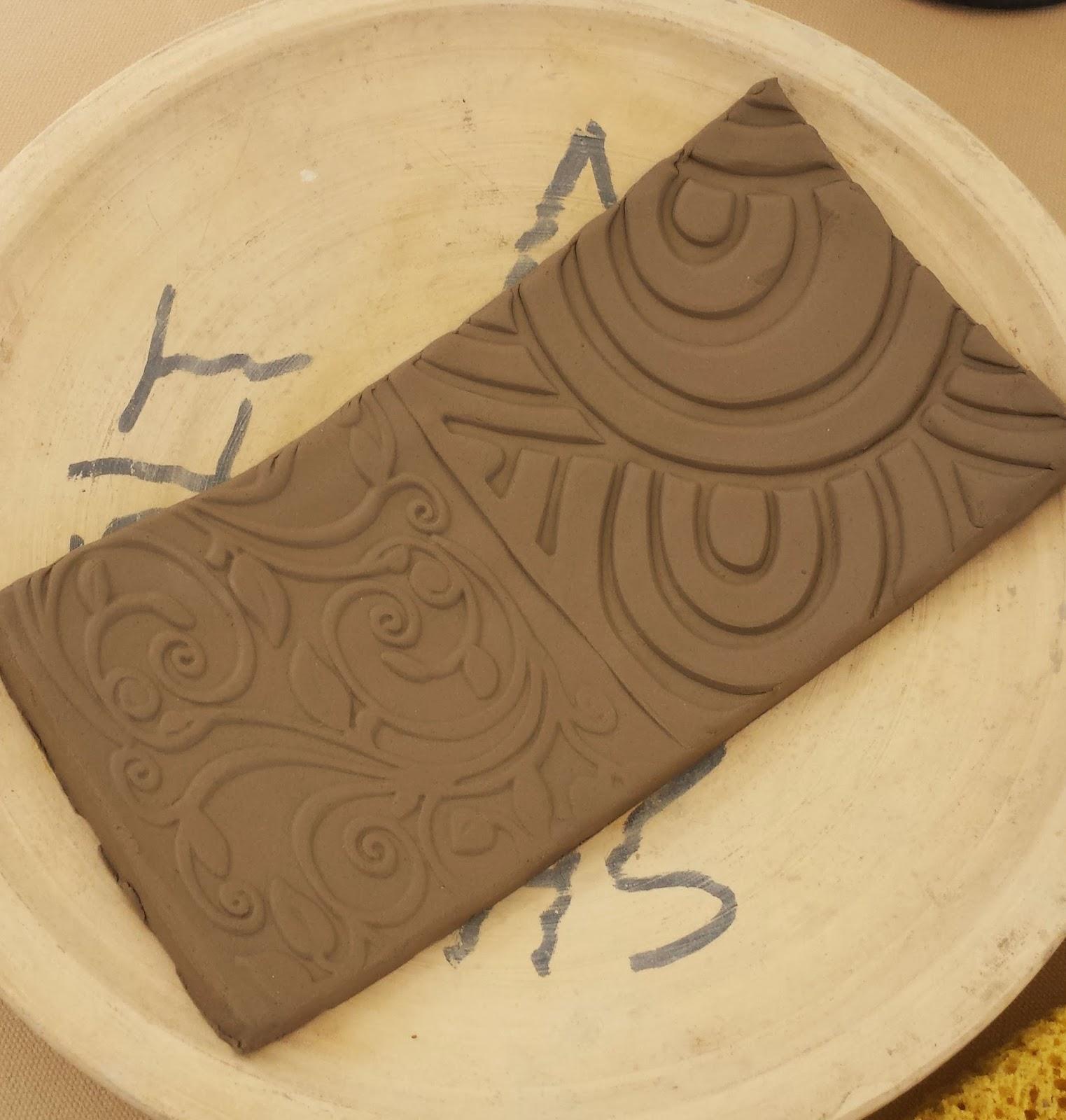 Handmade stoneware clay sushi plate in progress.