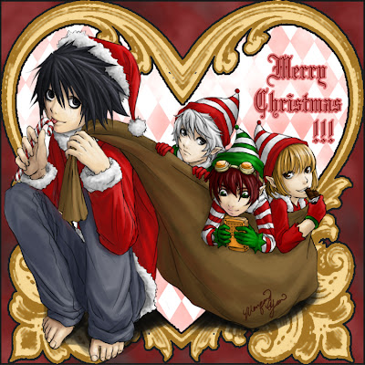 Death Note Merry Christmas Wallpaper 0002  Death Note | Anime | Christmas | Holiday | Kira | L | Light Yagami | Fan Art