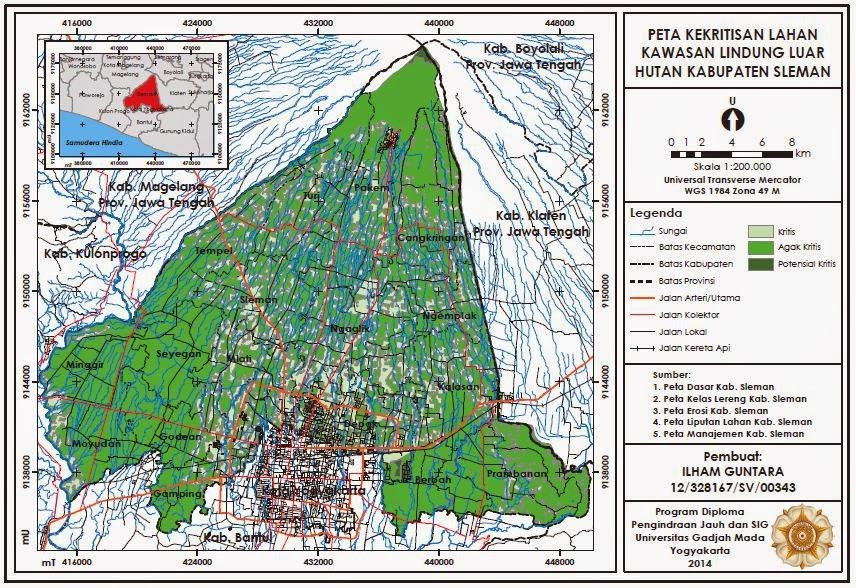 Contoh Peta Kekritisan Lahan Kawasan Lindung Luar Hutan Kabupaten Sleman www.guntara.com