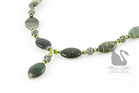 Bali Crystal Beaded Moss Agate Gemstone Necklace (N036)