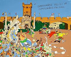 """IÑAQUI BLANCO. """"Axterix en Puerta Tierra"""". Acrílico sobre lienzo, 90 x 100 cms."""