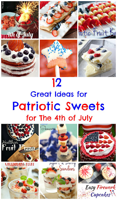 12 Great Ideas for Patriotic Sweets:  A round-up of red, white, and blue sweets perfect for American Independence Day shared on Great Idea Thursdays link party.