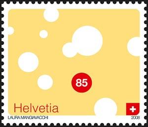Sello postal suizo que representa queso Emmental, obra de Laura Mangiavacchi