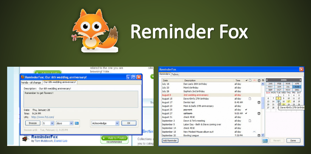 Reminder Fox Extension For Firefox