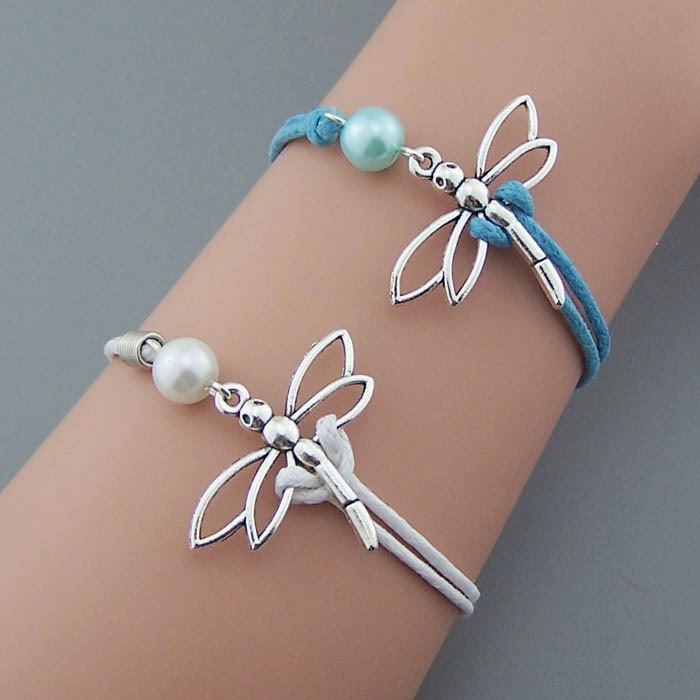 A perfect gift: Silver Dragonfly Bracelet,Pearl bracelet,rope ...