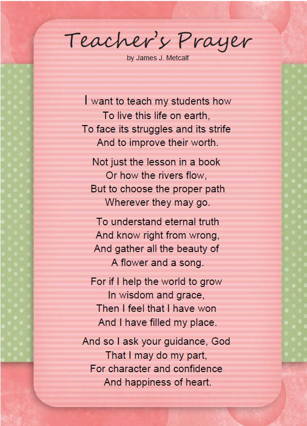 Teaching with TLC: A Teacher's Prayer for Every Parent and ...