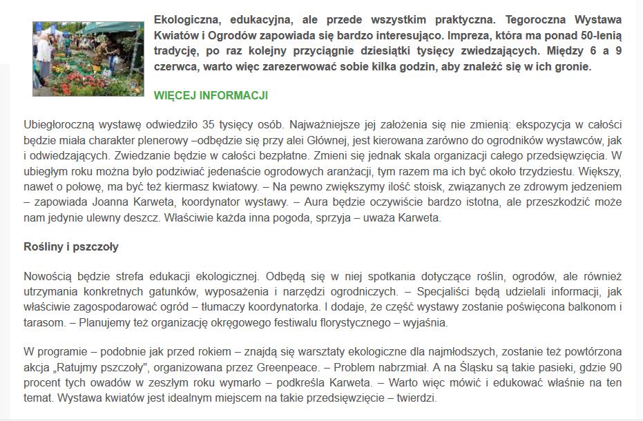 http://parkslaski.pl/aktualnosci/2379-wystawa-kwiatow-i-ogrodow-tuz-tuz-beda-rosiny-pszczoly-i-edukacja-najwazniejsze-informacje.html
