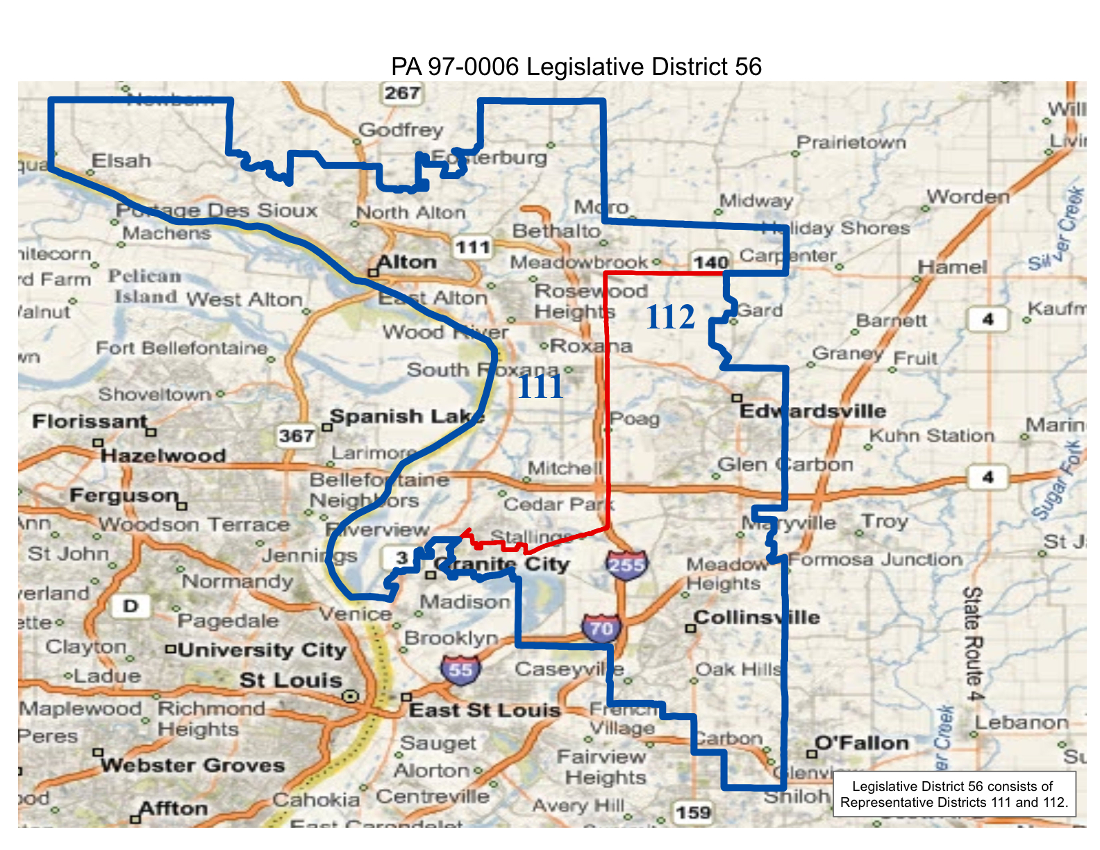 map of realigned illinois state senate district 56 and state representative districts 111 and 112