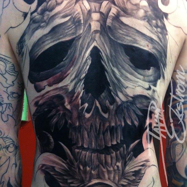 Skull Back Piece: Tattoos & Art By: DAVID EKSTROM: Full Skull Backpiece B&G