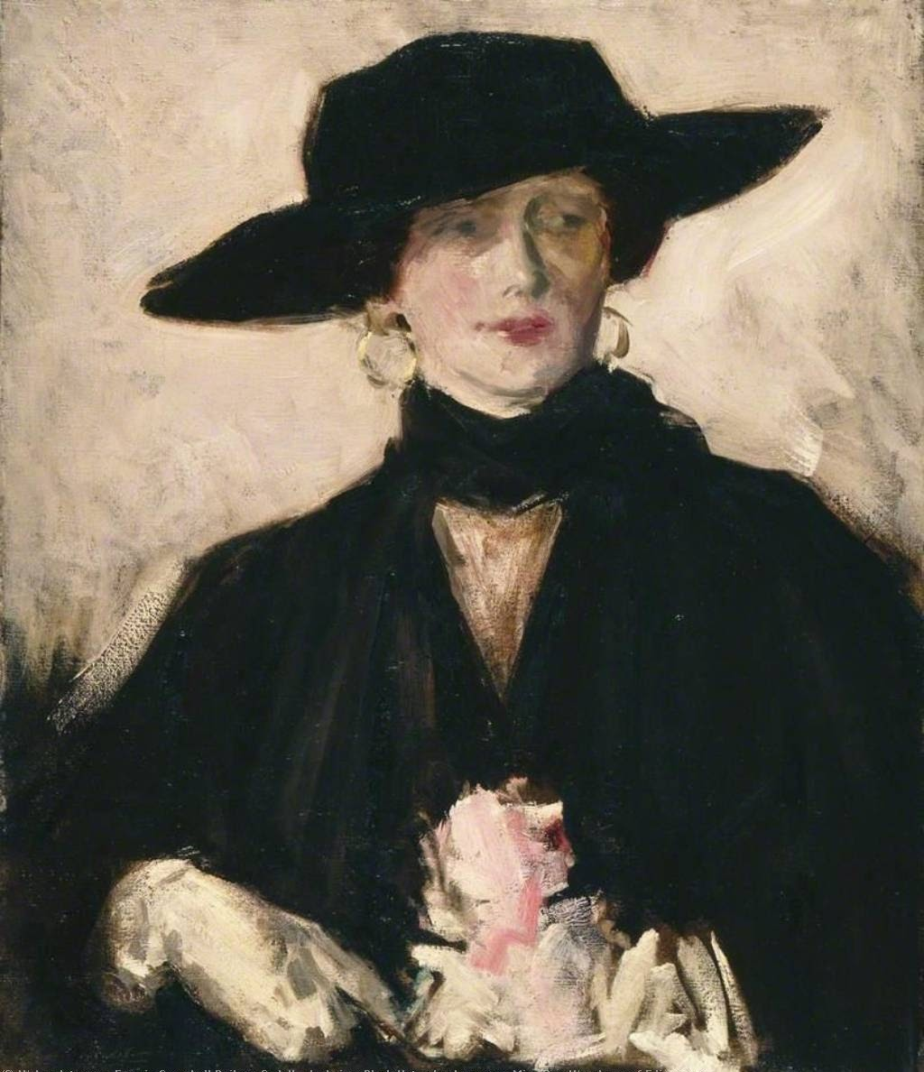 Francis Cadell Lady in a  lack Hat also known as Miss Don Wauchope of Edinburgh