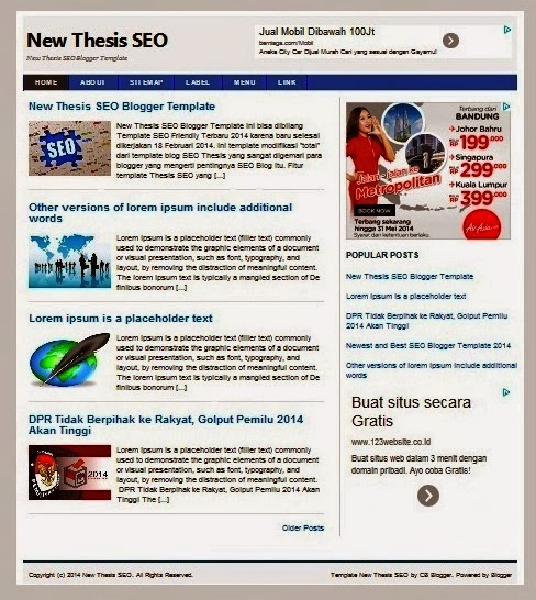 Thesis New 2014 Template Blog Seo friendly