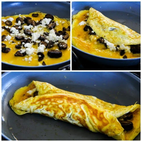 Sunday-Morning Omelet with Mushrooms and Goat Cheese (Low-Carb, Gluten-Free) found on KalynsKitchen.com
