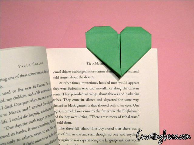 Creating Laura Origami Heart Bookmarks
