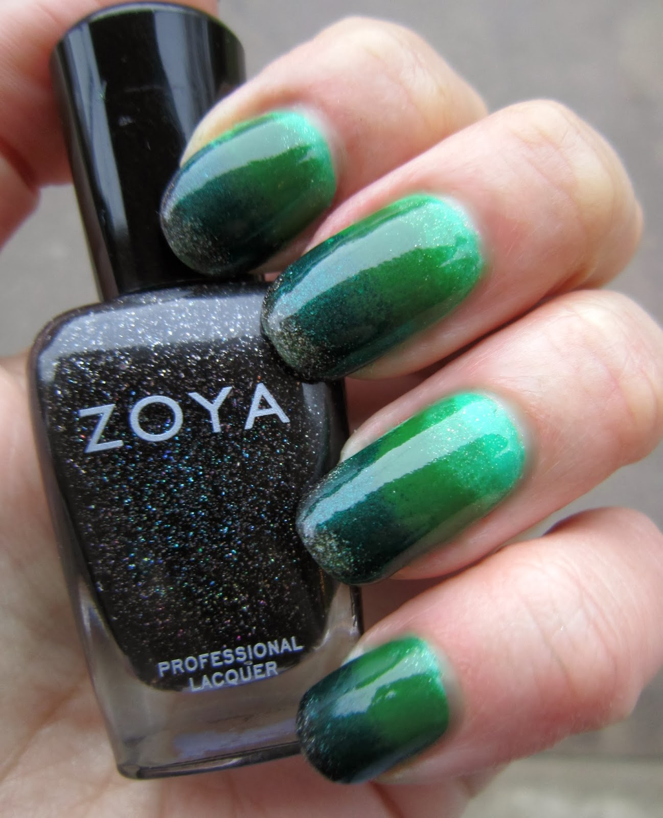 Concrete and nail polish green gradient nails i love gradient nails of all varieties here i started with a base of sation plenty of frogs then added bb couture poison ivy with a slightly damp makeup prinsesfo Image collections