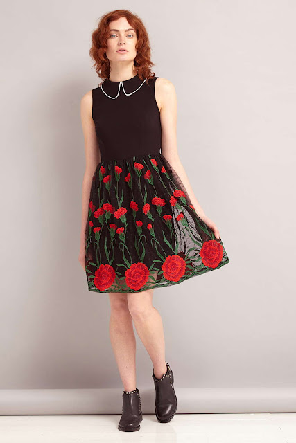 sister jane black red dress, red flower dress,