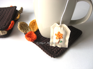 Wood Leaves Crochet Coasters