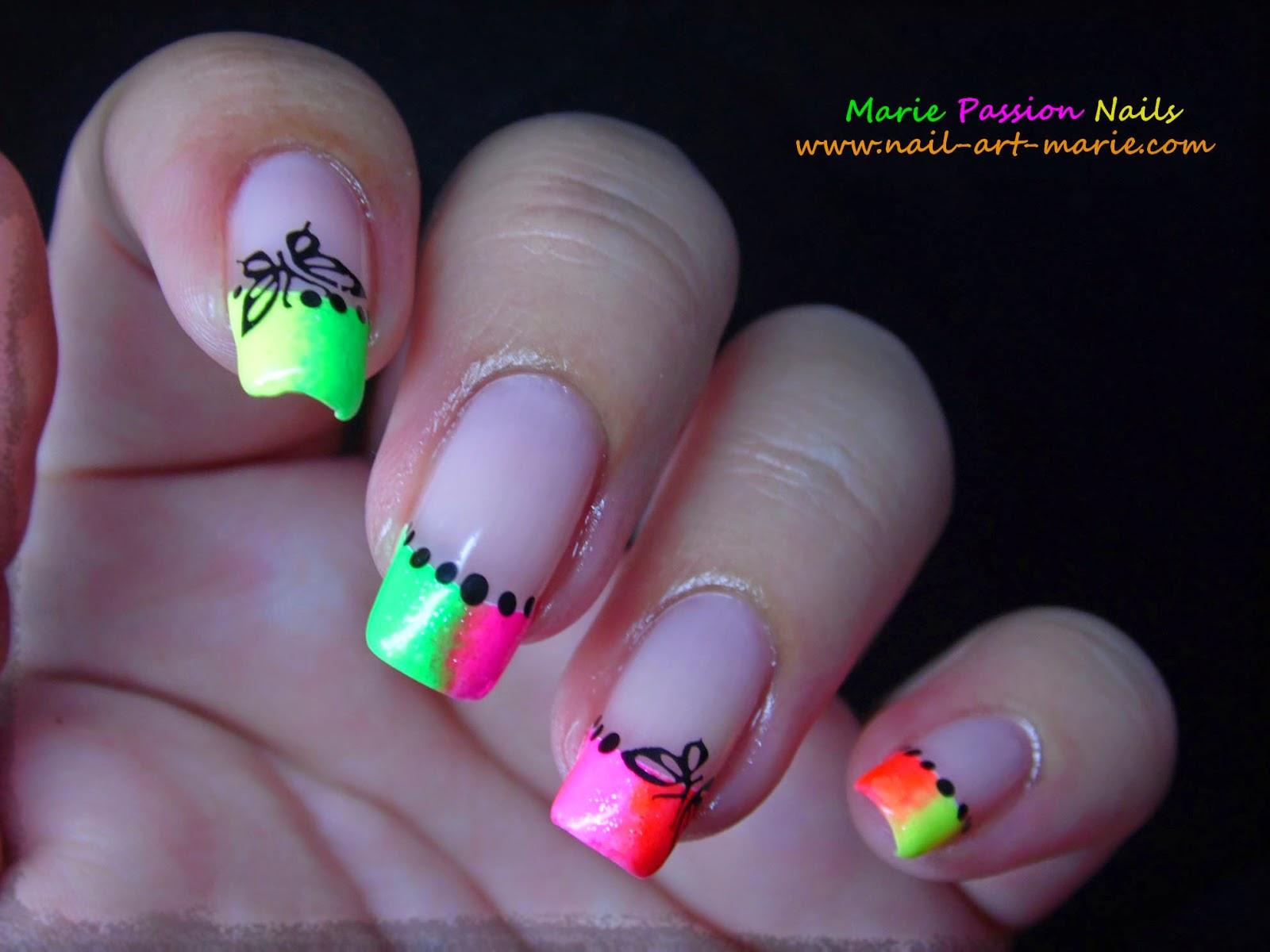 Nail Art french en dégradé de fluos5