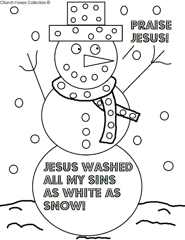 Coloring Page For Sunday School- Snowman Praise Jesus Coloring Page title=