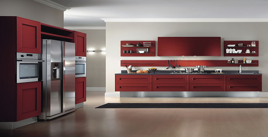 Red And White Contemporary Modern Kitchen Design London