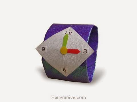 Cách gấp, xếp cái Đồng Hồ bằng giấy origami - Video hướng dẫn xếp hình đồ thời trang - How to fold a iwatch