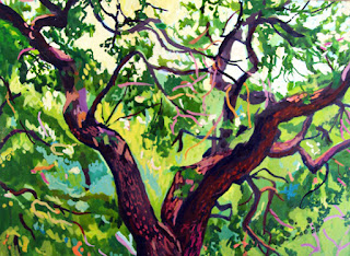A miniature acrylic ink painting of an oak tree in San Antonio