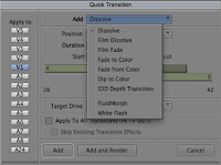 The Quick Transition dialog in the Avid editing system.