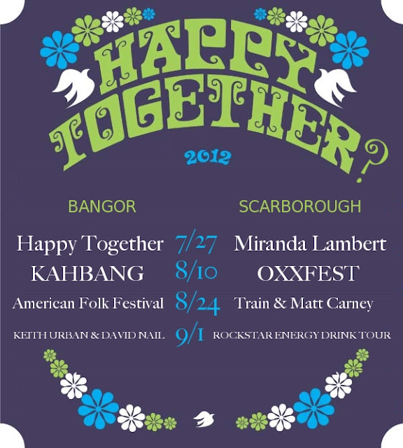 Happy_Together_Tour,spoof,Bangor,Waterfront_Concerts,Scarborough_Downs,Maine,KahBang,American_Folk_Festival