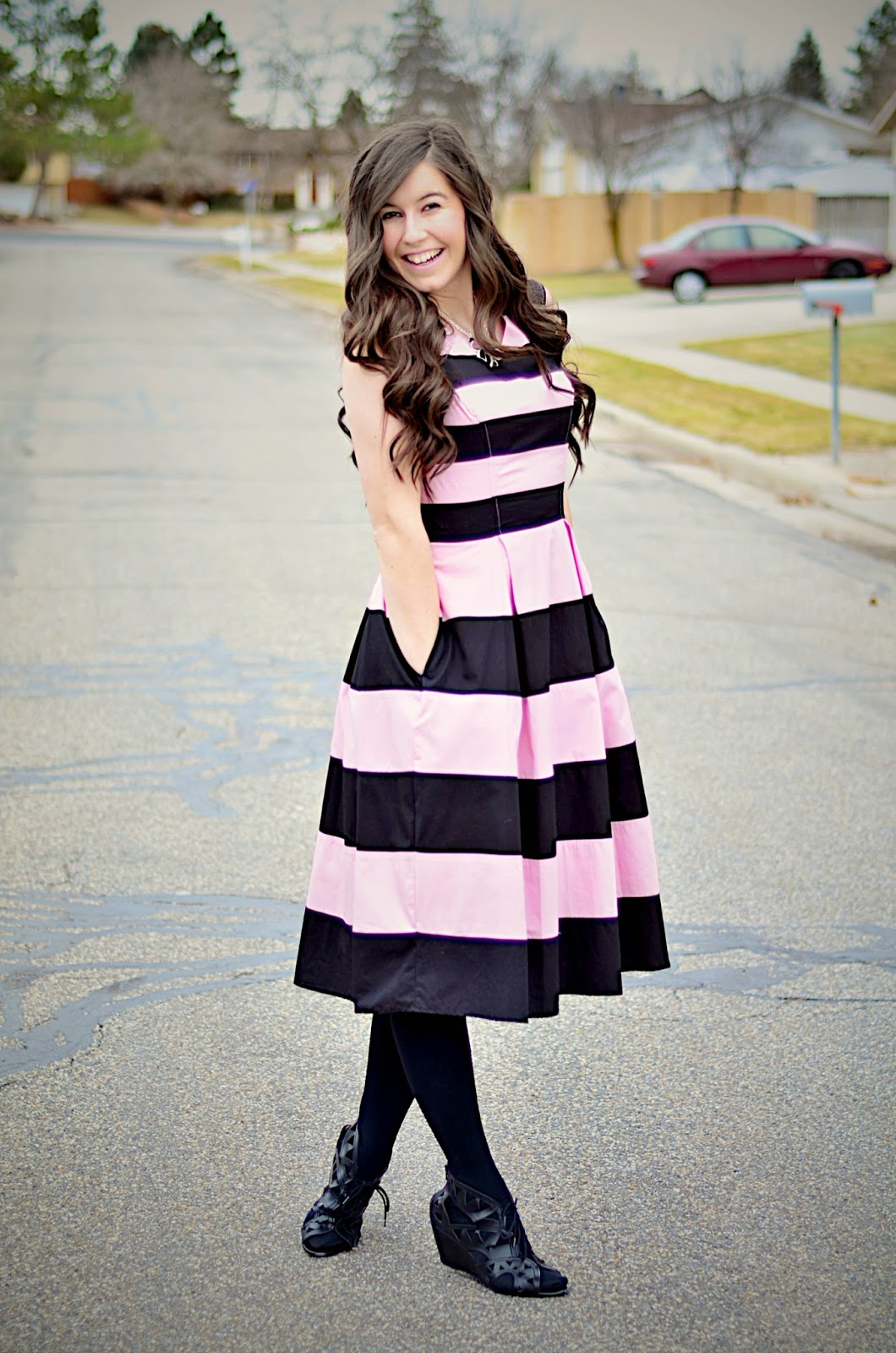 eshakti, eshakti dress, edward eliason photography, pink and white, pink and black striped dress, pink dress, pink dress outfit, valentines day, valentines day inspired outfit,