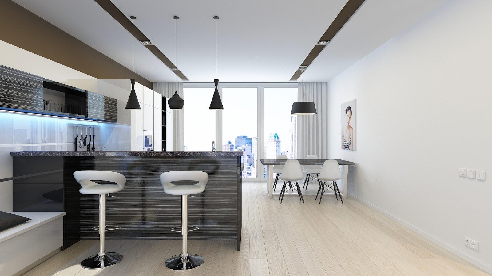 Кухня студия минимализм дизайн