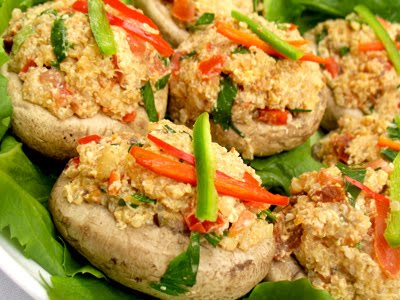 stuffed mushrooms with tempeh and quinoa