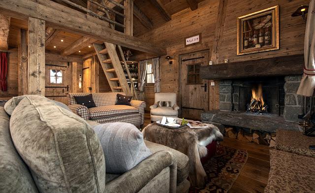 interior rustico chic casa de montaña