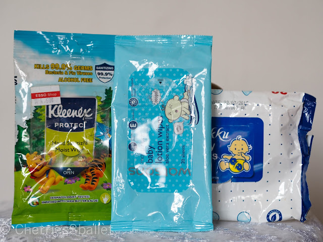 Kleenex Protect Hand Sanitising Moist Wipes, Watsons Moisturising Baby Lotion Wipes Aloe Vera Extract, Anakku Baby Wipes