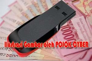 Ilustrasi Gambar Flashdisk dan Uang Jutaan Rupiah