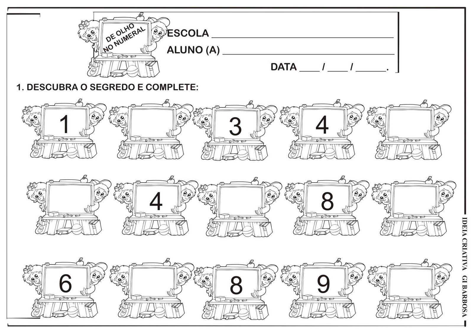 Extremamente Matemática Infantil: Atividade Sequência Numérica Volta às Aulas MT09
