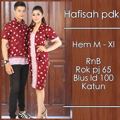 Model baju batik pasangan jumputan merah tua