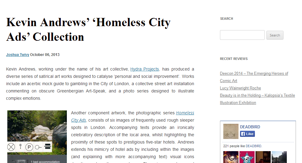Deadbird review of Homeless City Ads