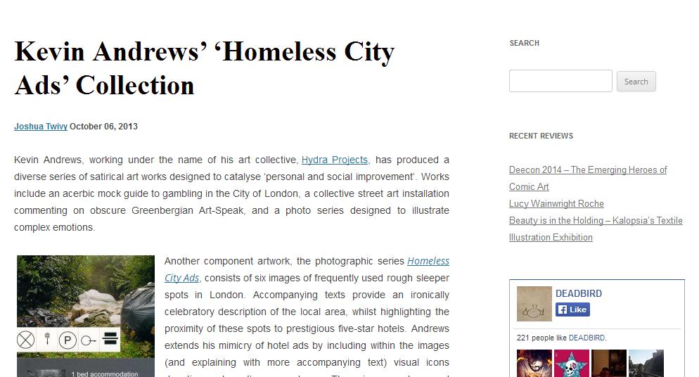 Deadbird review of Homeless City Ads