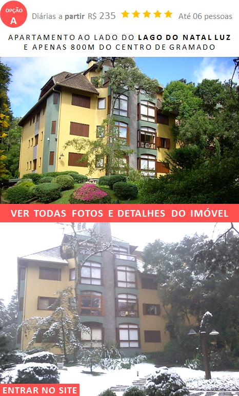 Apartamento Gramado Temporada ao lado do Lago do Natal Luz e centro de Gramado RS