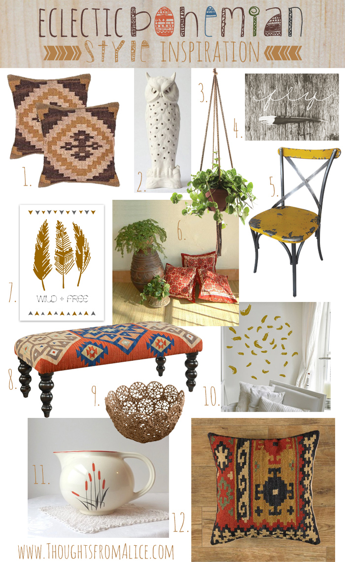 Eclectic Bohemain Style Inspiration Mood
