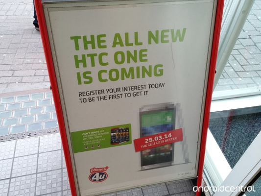 The All New HTC One is advertised on a poster in UK