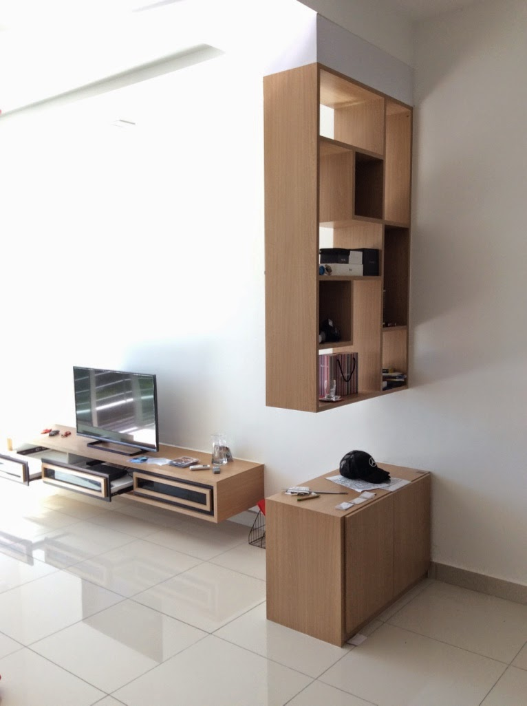 Fukusu Living Room Tv Cabinet And Wall Hang Divider With Floor Cabinet Meridian Residence Penang