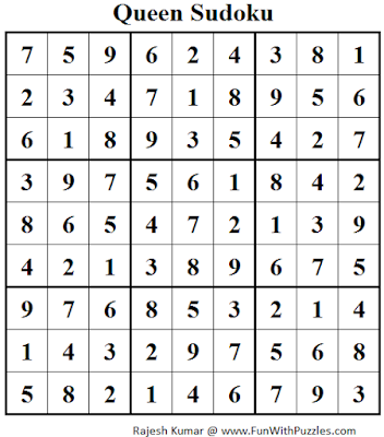 Queen Sudoku (Daily Sudoku League #122) Solution